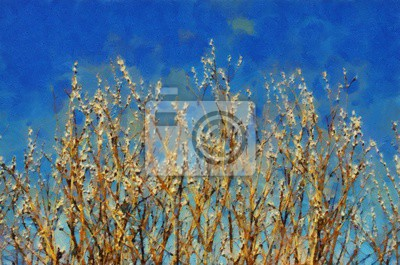Nature motifs. Beauty spring or summer landscape. Oil painting original wall art print in large size for interior design decor. Impressionism modern pictorial. Contemporary mixed drawing on canvas.
