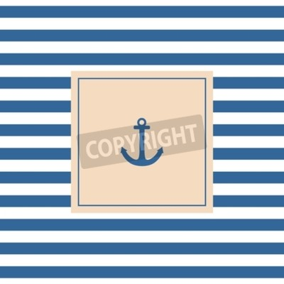 Canvas print Nautical vector card or invitation with anchor pastel background and blue white stripes