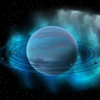 Canvas print Neptune Planet - Neptune is the eight planet in our solar system and has planetary rings and a great dark spot indicating a storm on its surface.