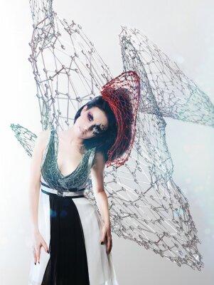 Canvas print net woman in monochrome dress