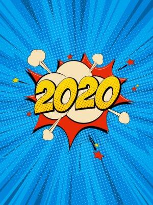 Canvas print New Year 2020 pop art comic background lightning blast halftone dots.