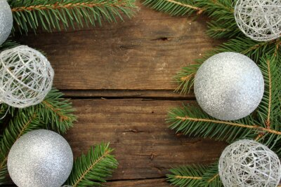 New Year and Christmas background - fir tree and ornaments - copy space for text