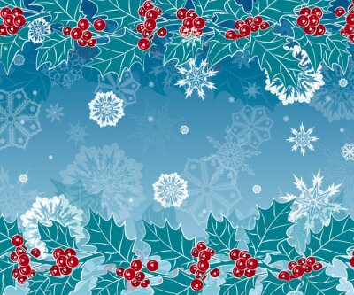 New year and Christmas background with branches of Holly and snowflakes. Vector