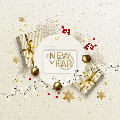 New Year and Christmas greeting card with gift boxes, balls, holly berries, snowflakes, light bulbs