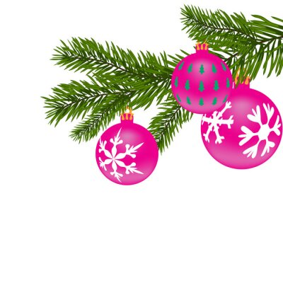 New Year or Christmas background. Fir tree branch with red balls with the figure.  illustration