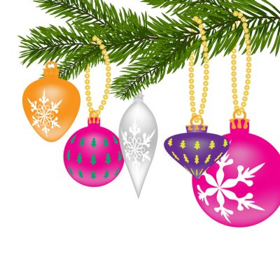 New Year or Christmas background. Fir tree branch with toys of different shapes with the pattern.  illustration