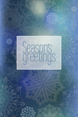 New year poster with snowflakes on a blue-green background with the words seasons greetins. Vertical. Vector