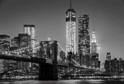 Canvas print New York by night. Brooklyn Bridge, Lower Manhattan – Black an