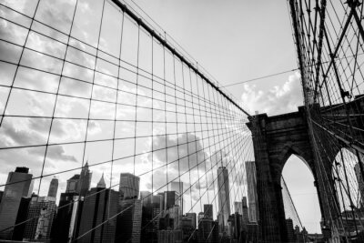 Canvas print New York City, Brooklyn Bridge skyline black and white