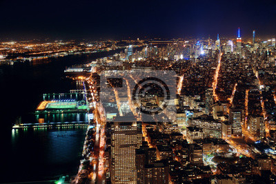 New York City downtown at night