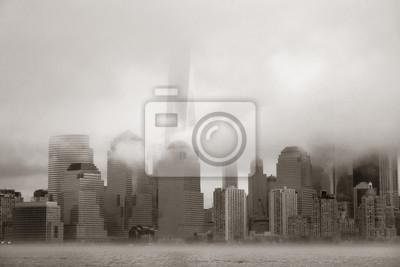 New York City downtown fog