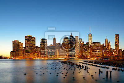 New York City downtown waterfront dusk
