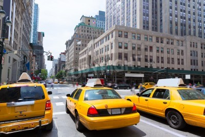 Canvas print New York city Manhattan Fifth Avenue 5th Av yellow taxi cab US