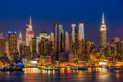 Canvas print New York City Manhattan midtown buildings skyline night
