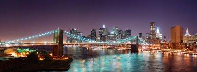 Canvas print New York City Manhattan skyline Brooklyn Bridge panorama