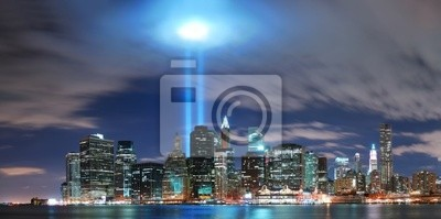 New York City Manhattan skyline illuminated over Hudson River