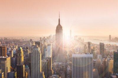 Canvas print New York City Manhattan skyline in sunset.