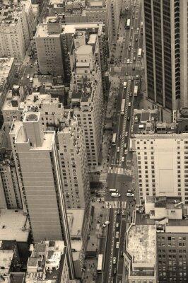 New York City Manhattan street aerial view black and white