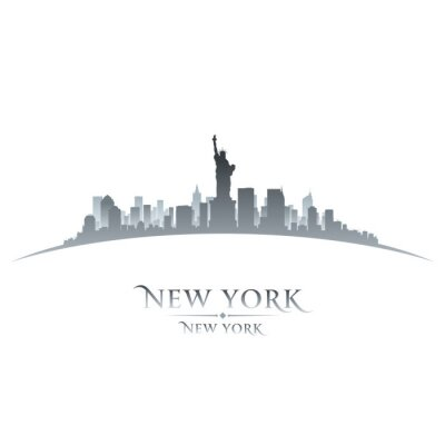 Canvas print New York city skyline silhouette white background