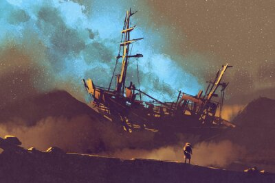 Canvas print night scene of abandoned ship on the desert with stary sky,illustration painting