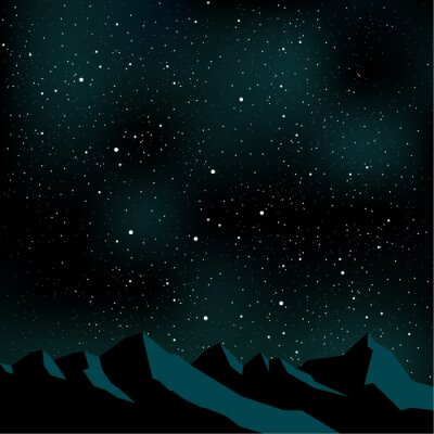 Canvas print Night sky stars, mountain landscape, vector illustration
