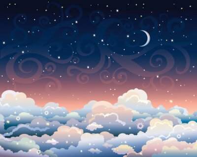 Canvas print Night sky with clouds and moon.
