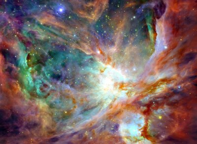 Canvas print Night sky with clouds stars nebula background. Colorful fractal paint, lights on the subject of art, abstract, creativity. Planet and galaxy in a free space. Elements of this image furnished by NASA.