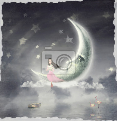 Canvas print Night. Time of miracles and magic .The illustration shows a girl who is sitting on the moon and the star holds in his hands