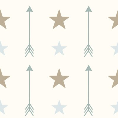 Canvas print nordic style colors arrows and stars seamless vector pattern background illustration