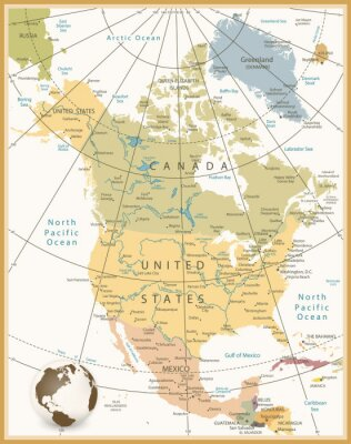 Canvas print North America Detailed Map Retro Colors