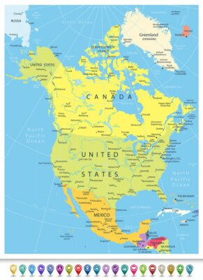 Canvas print North America Detailed Political Map with Navigation Icons