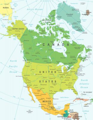 Canvas print North America map - highly detailed vector illustration.