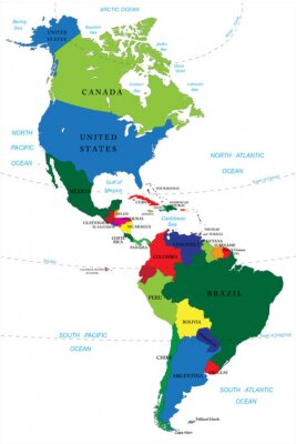 Canvas print North and South America map