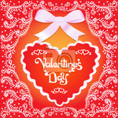 of a postcard on Valentine's day with the heart and ornament