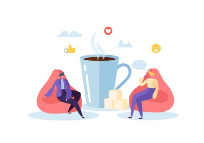 Canvas print Office Lunch Time. Business People Characters on Coffee Break. Employees Talking, Resting and Drinking Hot Drinks. Vector illustration