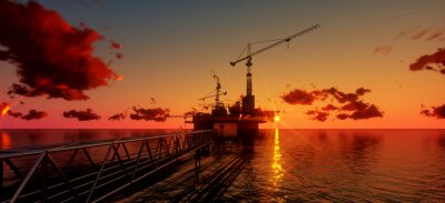 Canvas print Offshore oil and rig platform in sunset time. Construction of production process in the sea. Power energy of the world..3d render