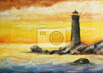 oil painted picture with sea, sunset and beacon