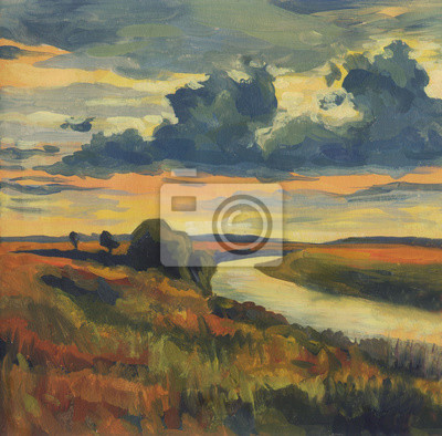 Oil painting. An evening landscape with cloudy sky and the river