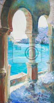 oil painting, art, seascape, mountains, rocks, sea