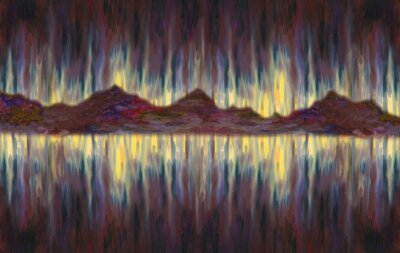 Oil Painting background. Fantastic abstract seascape with a mountains coastline in the distance. A shining night sky. Hard brush strokes texture.