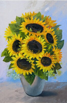 Canvas print Oil painting - bouquet of sunflowers in a vase on an abstract background, beautiful flowers