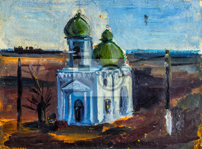 Oil Painting Church painted in the style of Impressionism