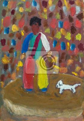 Oil painting clown with a dog in bright colors