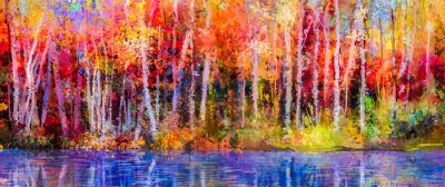 Canvas print Oil painting colorful autumn trees. Semi abstract image of forest, aspen trees with yellow - red leaf and lake. Autumn, Fall season nature background. Hand Painted Impressionist, outdoor landscape