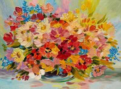 Canvas print Oil painting - colorful bouquet of summer flowers on an abstract background