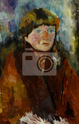 Canvas print Oil painting female portrait in bright colors On Canvas