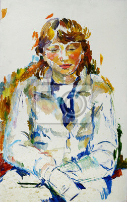 Oil painting female portrait in bright colors On Canvas