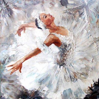 Canvas print oil painting, girl ballerina. drawn cute ballerina dancing