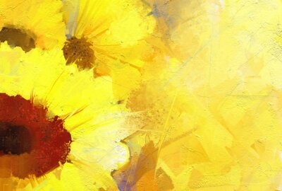 Canvas print Oil painting  golden sunflower  background.
