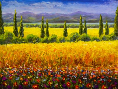 Canvas print Oil painting Italian summer tuscany landscape, green cypresses bushes, yellow field, red flowers, mountains and blue sky artwork image on canvas